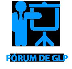 """ícone de uma pessoa de terno apontando para louza em azul com o conteúdo """"Fórum de GLP"""" em baixo."""