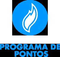 """ícone do logo de formato de chama azul com o conteúdo """"Programa de pontos"""" escrito em baixo."""