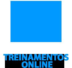 """ícone de capelo azul com o conteúdo """"treinamentos online"""" escrito em baixo."""