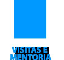 """ícone de duas pessoas em aperto de mão em azul com o conteúdo """"Visitas e mentoria"""" em baixo."""